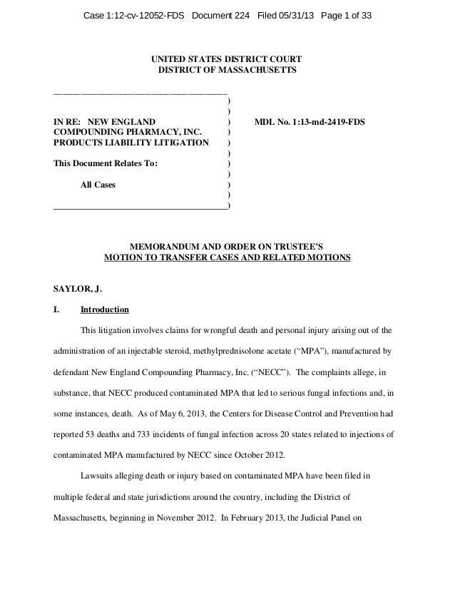 Judge Saylor Order in NECP MDL regarding Transfer of PI Cases to Boston