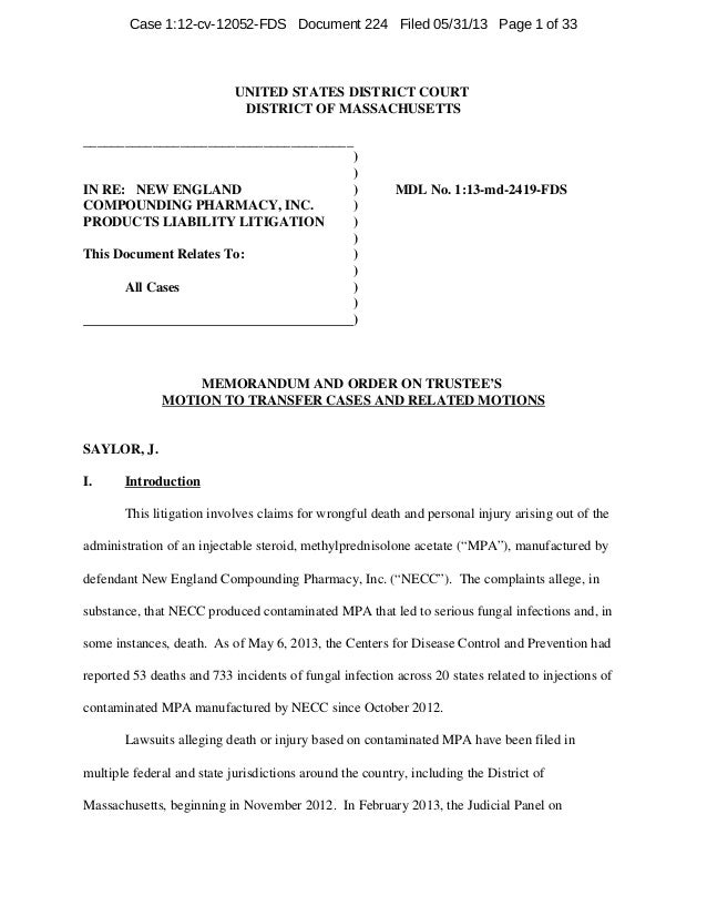 Judge Saylor Order in NECP MDL regarding Transfer of PI Cases to Boston
