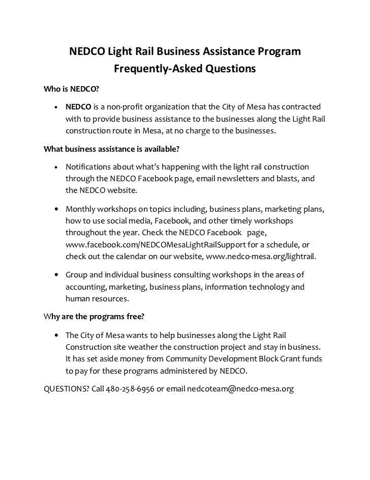 Nedco Light Rail Business Assistance Program FAQ