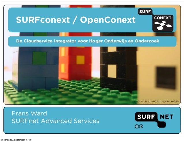 SURFconext / OpenConext Frans Ward SURFnet Advanced Services De Cloudservice Integrator voor Hoger Onderwijs en Onderzoek ...