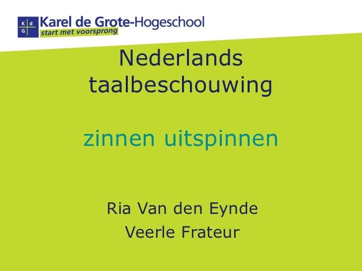 Nederlands taalbeschouwing zinnen uitspinnen Ria Van den Eynde Veerle Frateur