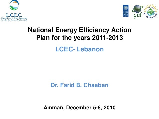 National Energy Efficiency Action  Plan for the years 2011-2013         LCEC- Lebanon       Dr. Farid B. Chaaban     Amman...
