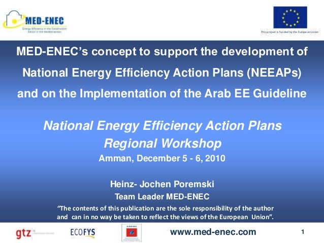 Day 2 MED-ENEC's concept to support the development of National Energy Efficiency Action Plans (NEEAPs) and on the Implementation of the Arab EE Guideline