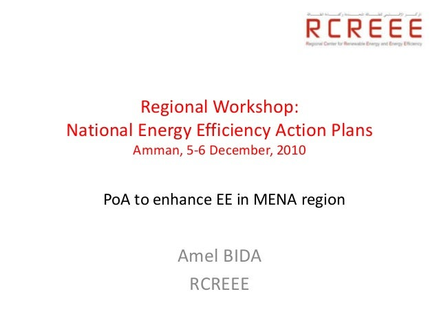 Regional Workshop:National Energy Efficiency Action Plans        Amman, 5-6 December, 2010    PoA to enhance EE in MENA re...
