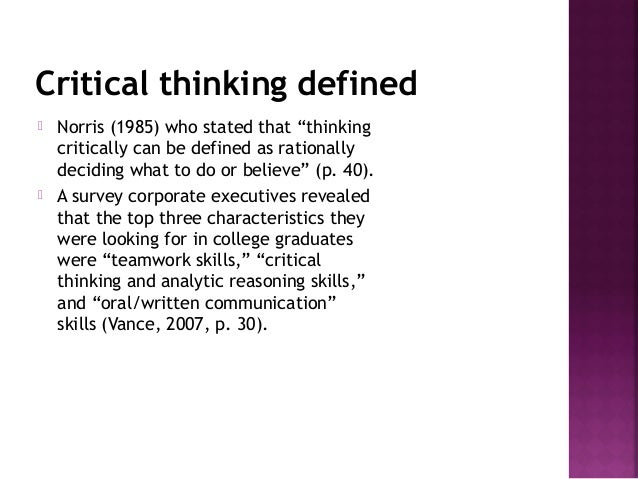 Research on critical thinking