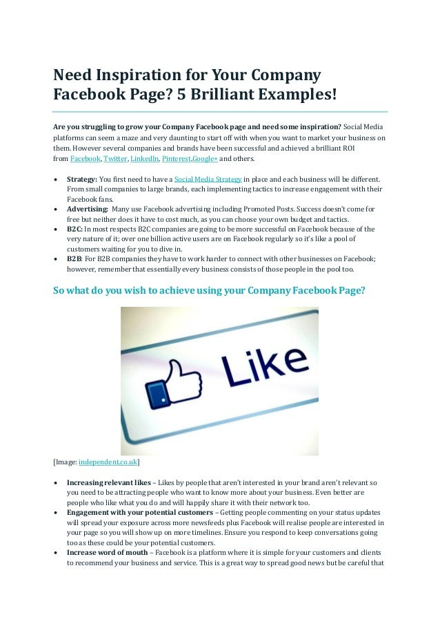 Need Inspiration for Your Company Facebook Page? 5 Brilliant Examples! Are you struggling to grow your Company Facebook pa...