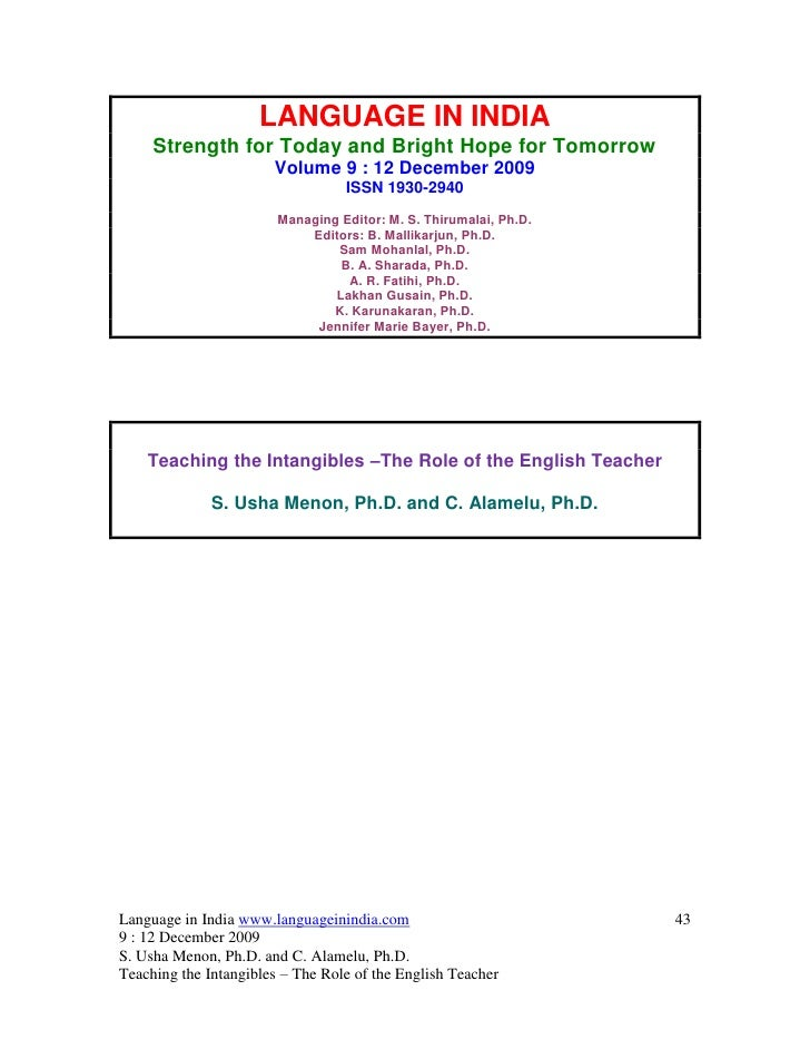 LANGUAGE IN INDIA     Strength for Today and Bright Hope for Tomorrow                       Volume 9 : 12 December 2009   ...
