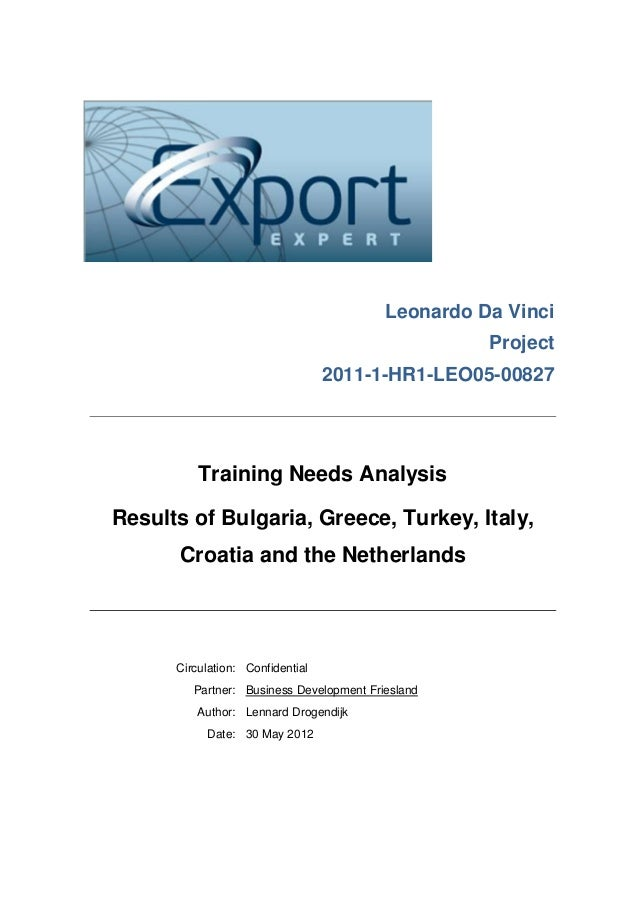 Training Needs Analysis Report on Exports