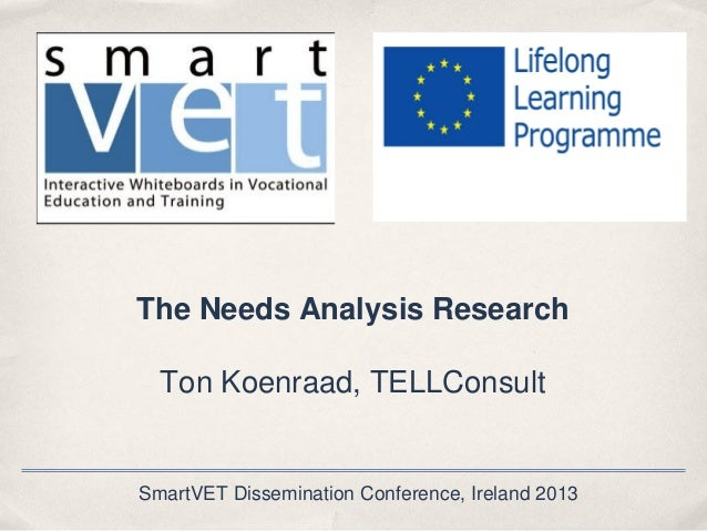 The Needs Analysis Research Ton Koenraad, TELLConsult  SmartVET Dissemination Conference, Ireland 2013