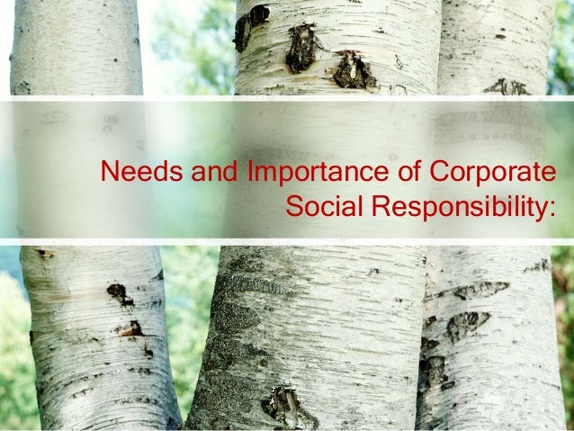 Needs and Importance of Corporate            Social Responsibility: