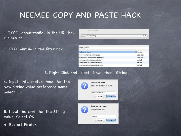 NEEMEE COPY AND PASTE HACK  1. TYPE -about:config- in the URL box. hit return  2. TYPE -intui- in the filter box            ...