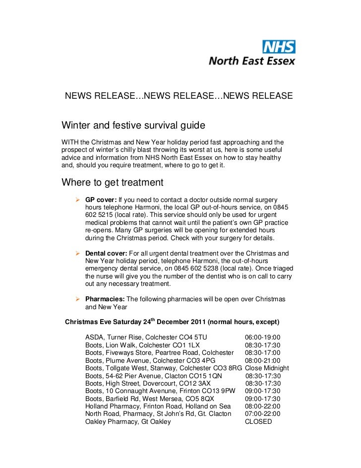 NEWS RELEASE…NEWS RELEASE…NEWS RELEASEWinter and festive survival guideWITH the Christmas and New Year holiday period fast...