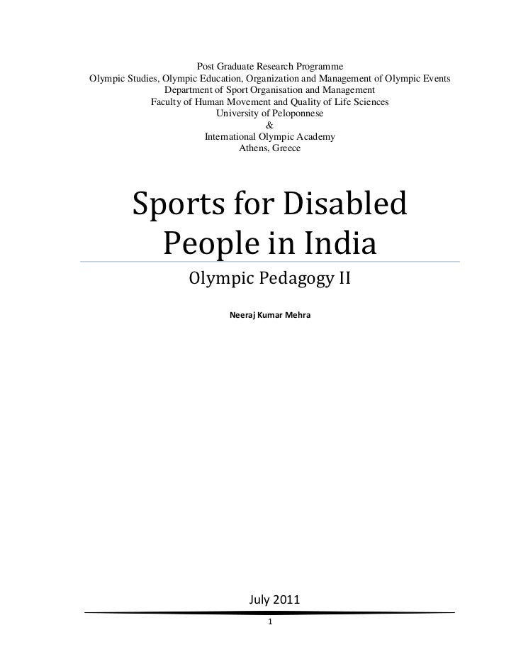 Sports for Disabled people in India