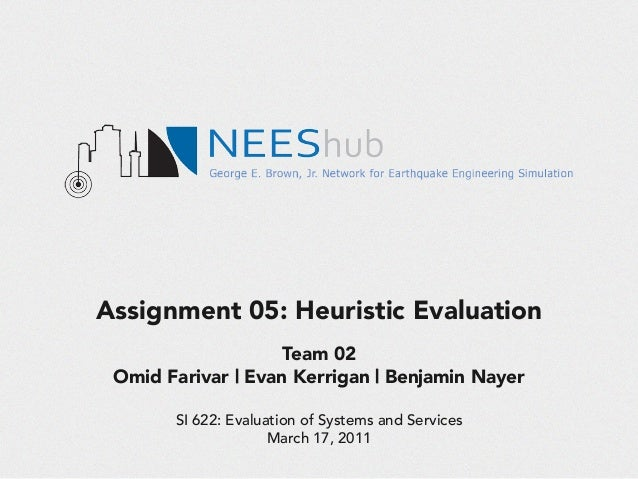 Assignment 05: Heuristic Evaluation Team 02 Omid Farivar | Evan Kerrigan | Benjamin Nayer SI 622: Evaluation of Systems an...