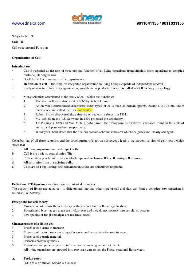 Free Worksheets unit ix worksheet 1 : Important Notes - NEET - Biology - Cell Structure and Function