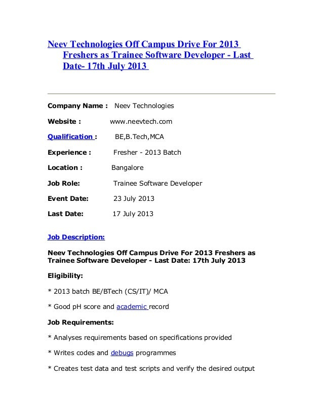 Neev technologies off campus drive for 2013 freshers as trainee software developer   last date- 17th july 2013