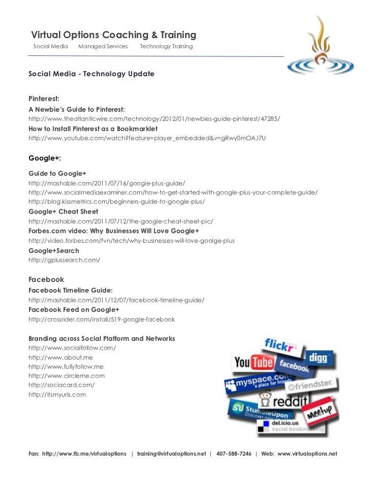 Virtual Options Coaching & Training Social Media     Managed Services      Technology TrainingSocial Media - Technology Up...