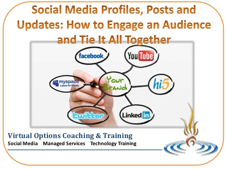 Social Media Profiles, Posts and Updates: How to Engage an Audience and Tie It All Together<br />Virtual Options Coaching ...