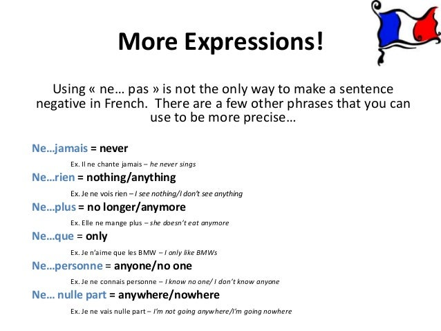 Negation Expressions In French