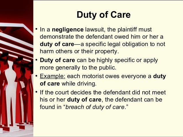 Duty of care policy essay
