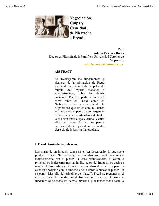 Léxicos Número 9  http://lexicos.free.fr/Revista/numero9articulo2.htm  Negociación, Culpa y Crueldad; de Nietzsche a Freud...
