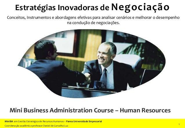 Estratégias Inovadoras de Negociação 1 11 MiniBA em Gestão Estratégica de Recursos Humanos – Panna Universidade Empresaria...
