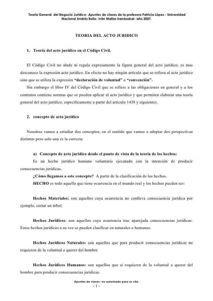 Teoría General del Negocio Jurídico- Apuntes de clases de la profesora Patricia López - Universidad                       ...