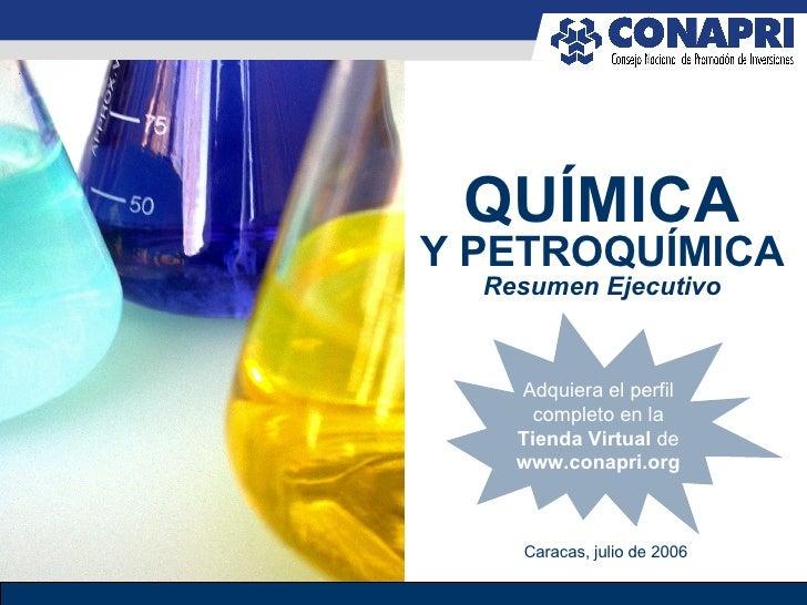 QUÍMICA Y PETROQUÍMICA Resumen Ejecutivo Caracas, julio de 2006 Adquiera el perfil completo en la Tienda Virtual  de  www....