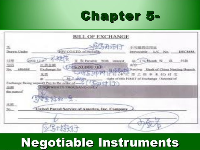 Chapter 5-Negotiable Instruments