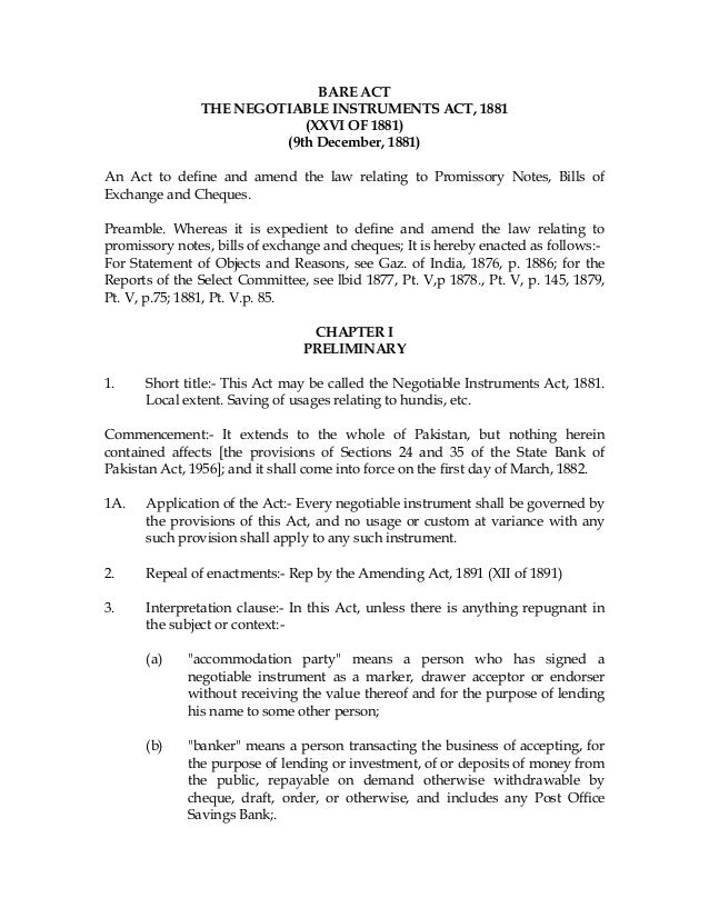 negotiable instruments act 1881 Wwwsakshieducationcom wwwsakshieducationcom negotiable instruments act –1881 there are certain documents used for payment in business transactions and are.
