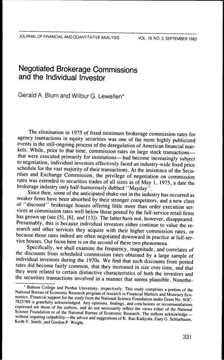 JOURNAL OF FINANCIAL AND QUANTITATIVE ANALYSIS                        VOL. 18, NO. 3. SEPTEMBER 1983  Negotiated Brokerage...