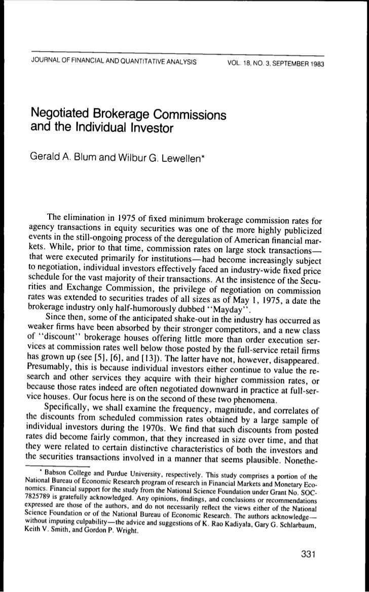 Negotiated brokerage commissions and the individual investor