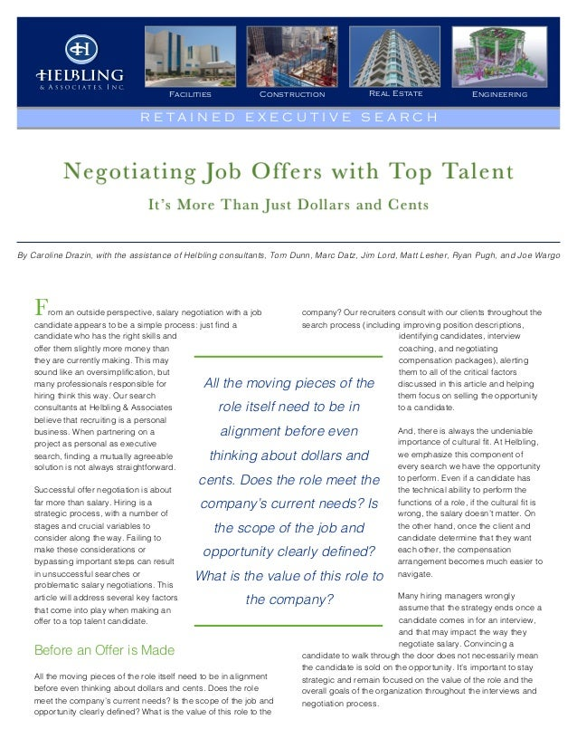 Negotiating Job Offers with Top Talent