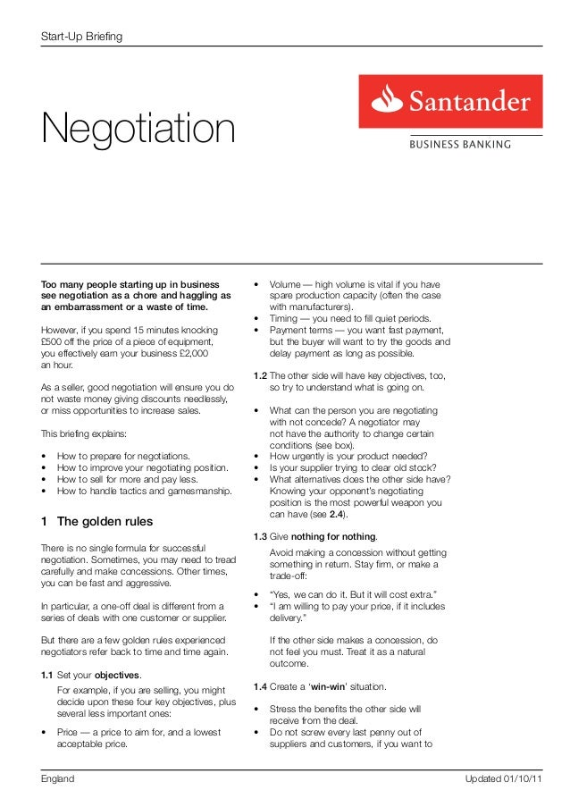 Start-Up BriefingNegotiationToo many people starting up in business             •	 Volume — high volume is vital if you ha...