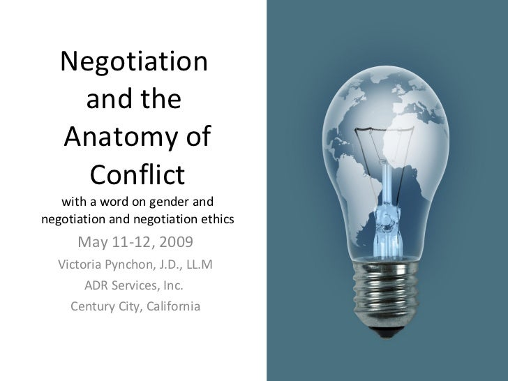 Negotiation  and the  Anatomy of Conflict with a word on gender and negotiation and negotiation ethics May 11-12, 2009 Vic...