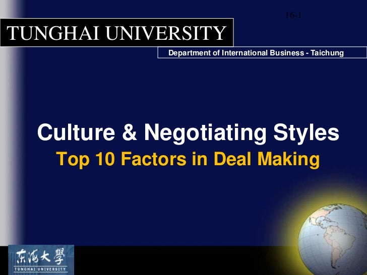 Negotiation Culture & Negotiating Styles Salacuse Top 10 Model[sav lecture c1]