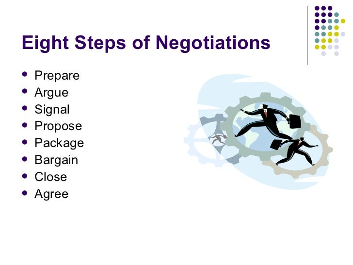 Eight Steps of Negotiations <ul><li>Prepare </li></ul><ul><li>Argue </li></ul><ul><li>Signal </li></ul><ul><li>Propose </l...