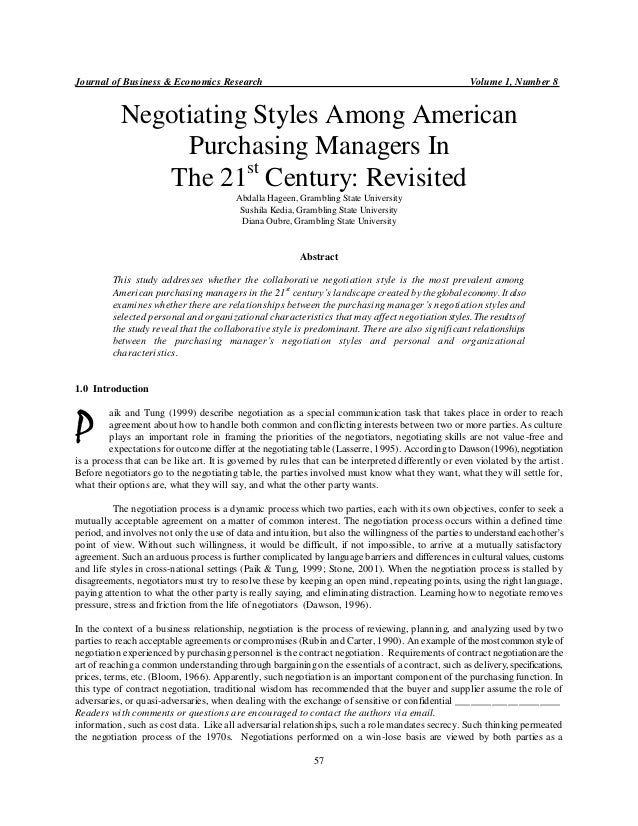 Journal of Business & Economics Research Volume 1, Number 8 57 Negotiating Styles Among American Purchasing Managers In Th...