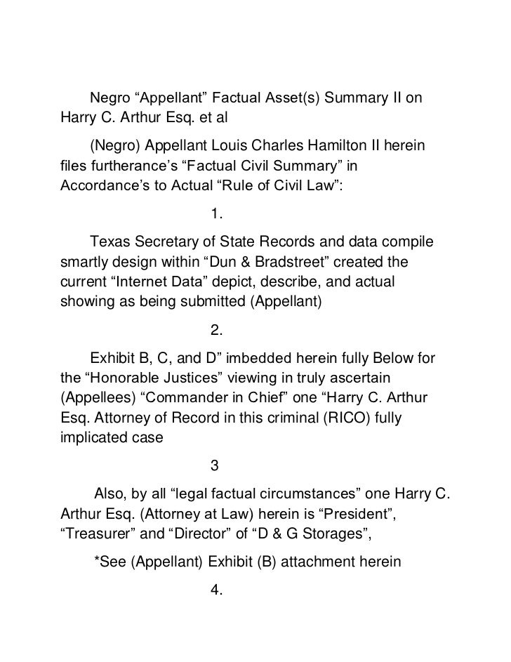 Negro plaintiff factual asset summary ii on harry c. arthur esq. et al