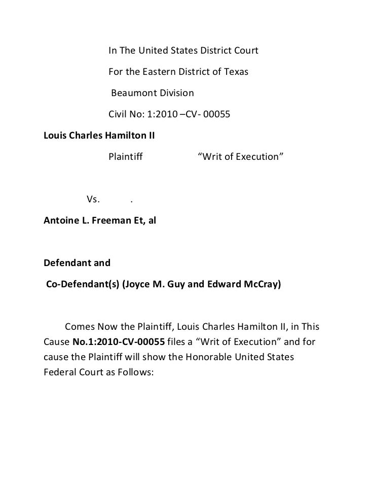 In The United States District Court               For the Eastern District of Texas                Beaumont Division      ...