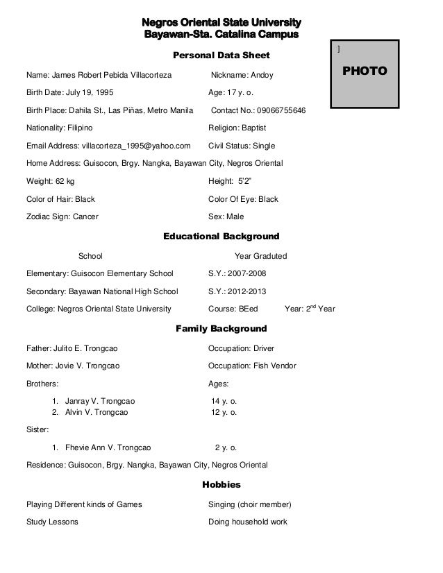 personal data sheet in resume 28 images student