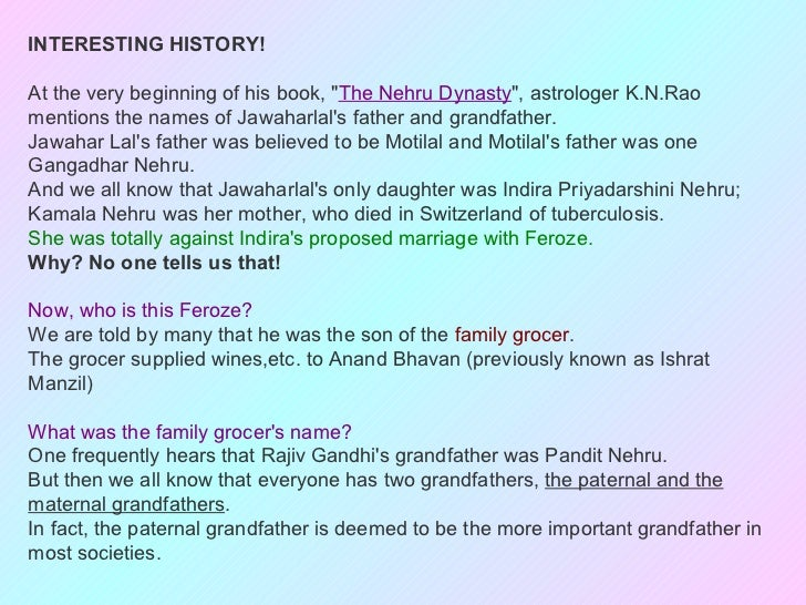 "INTERESTING HISTORY!At the very beginning of his book, ""The Nehru Dynasty"", astrologer K.N.Raomentions the names of Jawaha..."