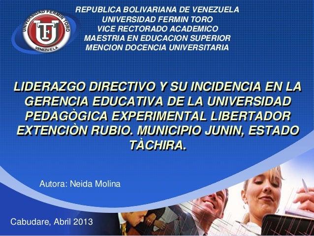 REPUBLICA BOLIVARIANA DE VENEZUELA                    UNIVERSIDAD FERMIN TORO    Company        VICE RECTORADO ACADEMICO  ...