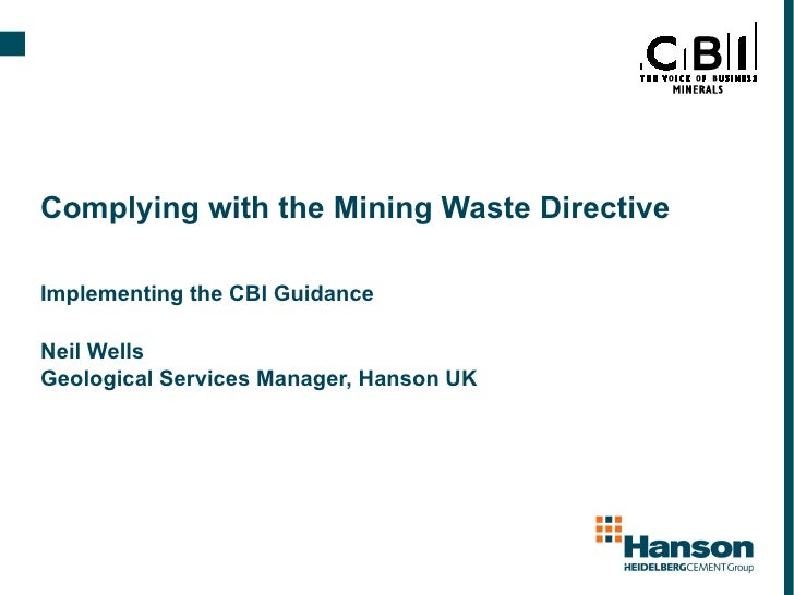 Complying with mining waste directive - Neil Wells