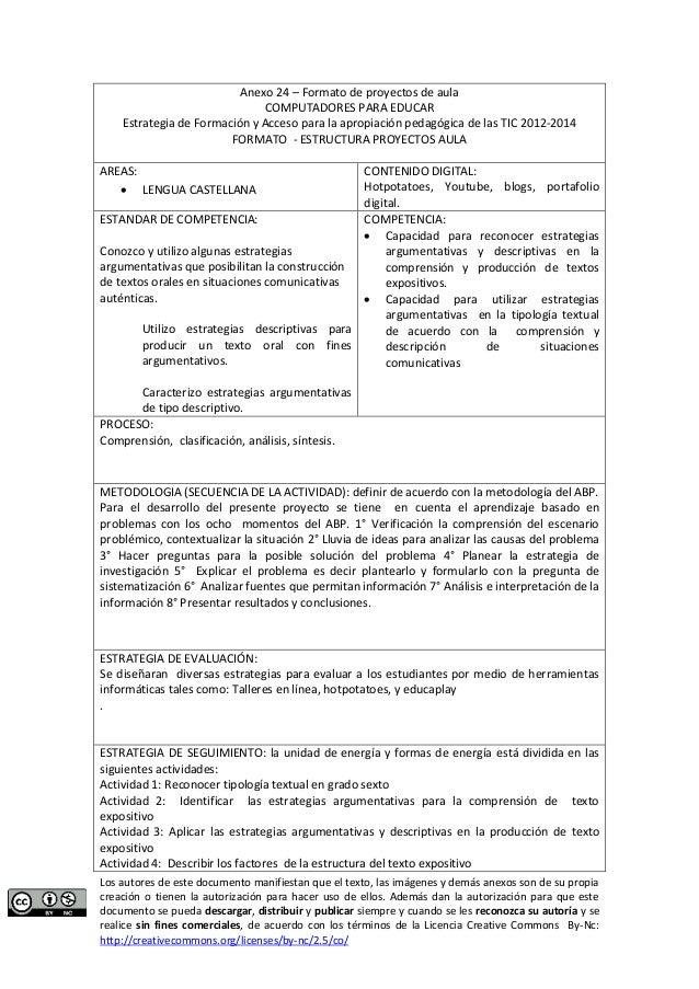 Anexo 24 – Formato de proyectos de aula  COMPUTADORES PARA EDUCAR  Estrategia de Formación y Acceso para la apropiación pe...