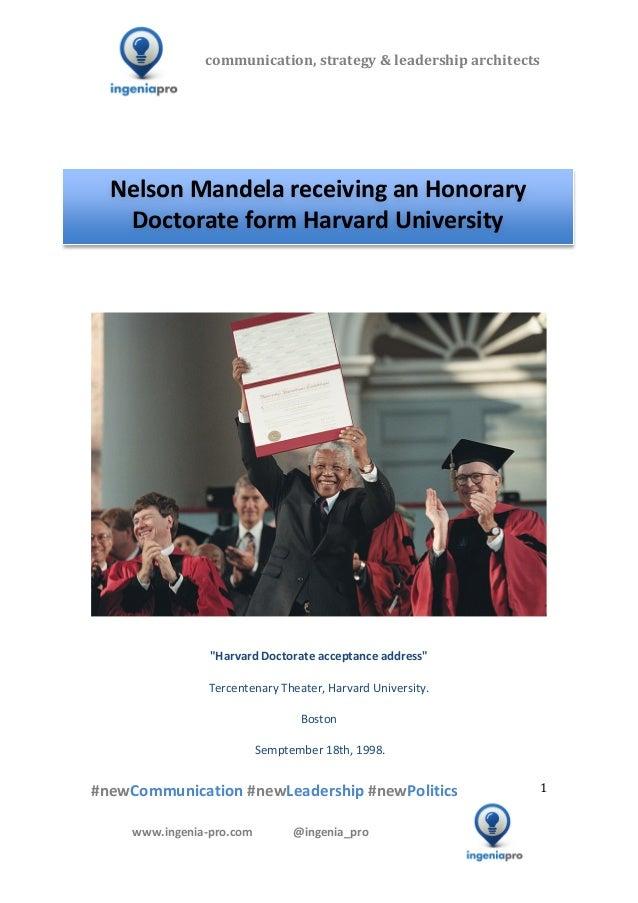 Nelson Mandela, Harvard Doctorate address
