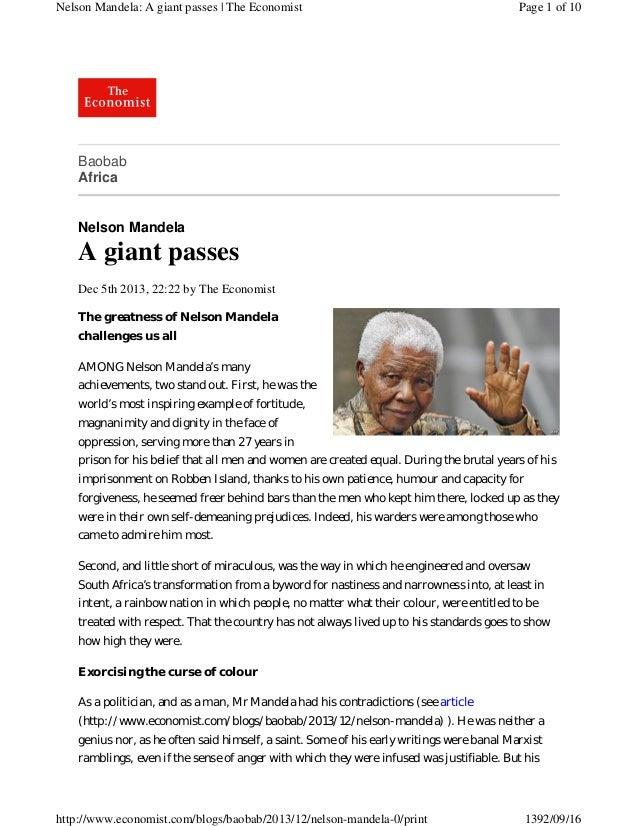 Nelson Mandela: A giant passes | The Economist  Page 1 of 10  Baobab Africa  Nelson Mandela  A giant passes Dec 5th 2013, ...