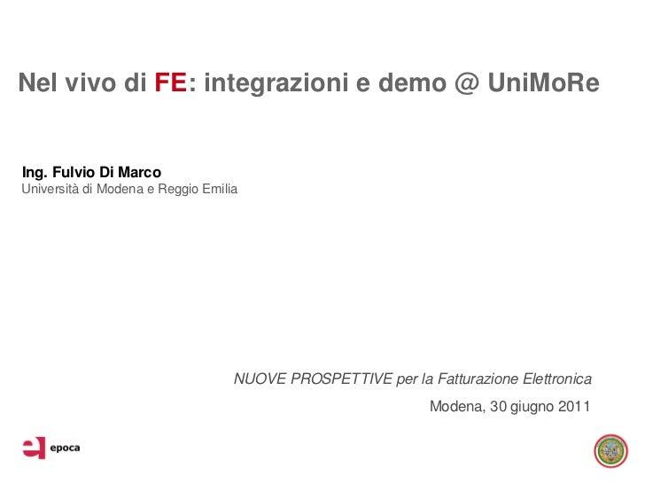 Ing. Fulvio Di Marco - Nel vivo di fe: integrazioni e demo @ uni more