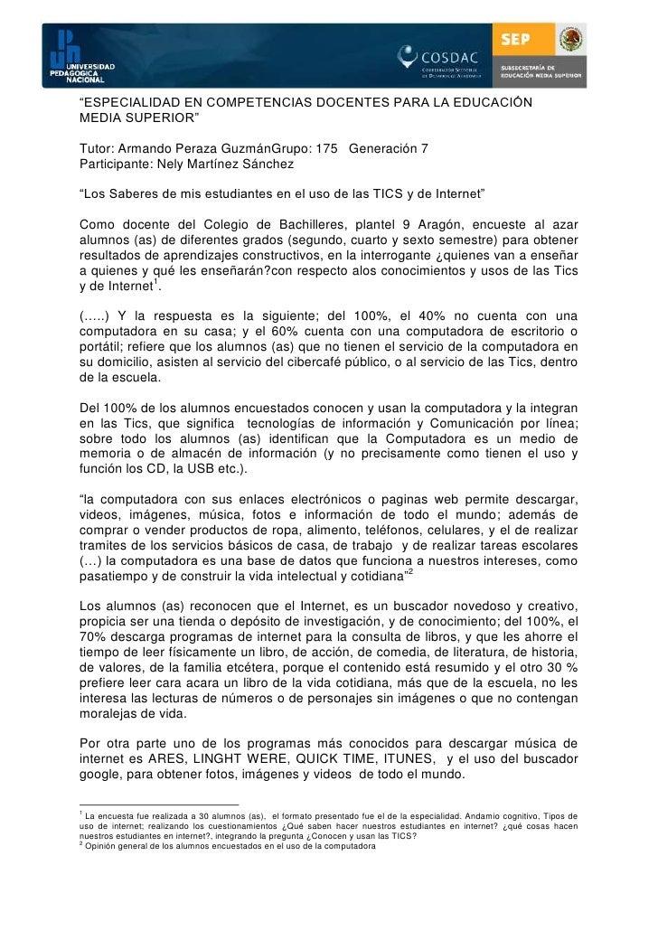 """""""ESPECIALIDAD EN COMPETENCIAS DOCENTES PARA LA EDUCACIÓNMEDIA SUPERIOR""""Tutor: Armando Peraza GuzmánGrupo: 175 Generación 7..."""
