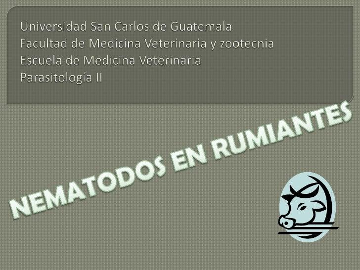 Universidad San Carlos de GuatemalaFacultad de Medicina Veterinaria y zootecnia Escuela de Medicina VeterinariaParasitolog...